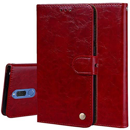 Teléfonos móviles casos de cuero Para Huawei Mate 10 Lite & Nova 2i Estilo Business Cera en Aceite Textura Horizontal Funda de Cuero con Tapa y Ranuras y Monedero La caja del teléfono ( Color : Red )
