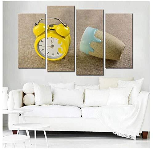 KPWAN Home Decor 4 Panel Alarm Klok En Glas Schilderen Muur Kunst Poster Moderne Woonkamer Foto's Prints op Doek Geen Frame Size a