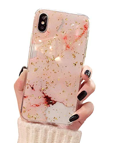 Xs Hülle Glitzer Ultra Slim iPhone XS Case Cover Handyhülle Rosa Schutzhülle Hardcase für Apple iPhone XS Cell Phone Roségold Blatt iPhone X/Xs