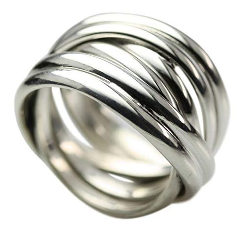 Breiter in sich verschlungener 925 Silberring, Größe:Größe 62 (19.8 mm)