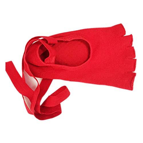 2 * yoga-sokken met open tenen dames balletdans-yoga-sokken met veters airconditioning vloerbedekking met vijf tenen sokken