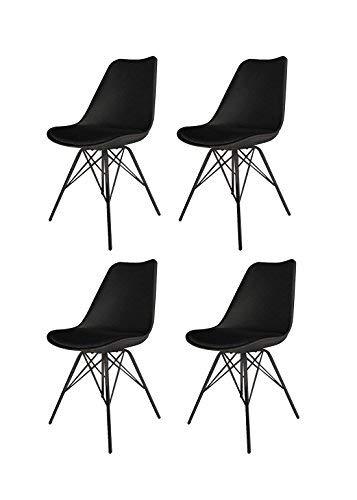 Meubletmoi Lot de 4 chaises Noires ET Metal - Style scandinave Vintage - Pieds Design métal et Assise Confortable - Tomy