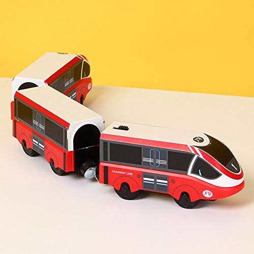 Juguete de tren magnético, juguete de tren eléctrico, juguete de tren en miniatura, juguete de tren, tren eléctrico, regalos creativos para niños de 3 a 8 años Rosa y rojo