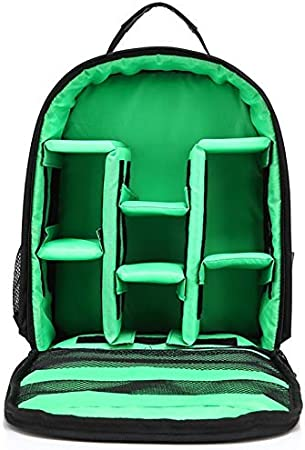 XHC Padded Camera Rucksack Backpack Bag HUWANG Portable Waterproof Scratch-Proof Polyester Surface Material Dual Shoulders Backpackage Outdoor Sports Camera Bag Color : Green Orange