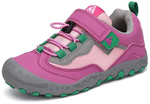 Mishansha Trekkingschuhe für Kinder Sport- Outdoorschuhe Jungen Mit Schnellverschluss Wanderschuhe Mädchen Atmungsaktiv Freizeit Kinderschuhe Komfort Laufschuhe Leicht Sneaker Unisex Pink/grün, 33 EU