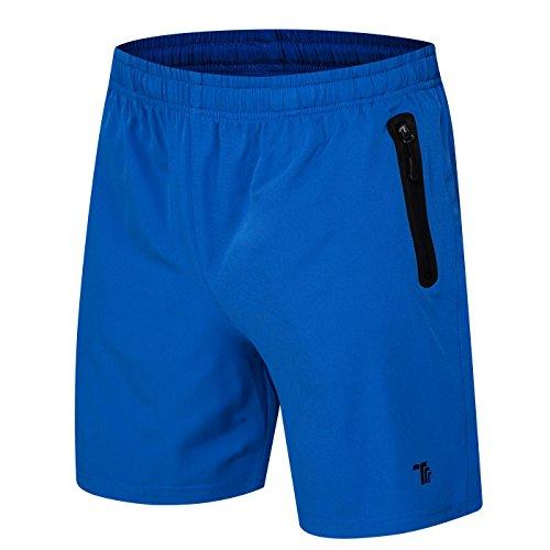 donhobo Kurze Hosen Herren Shorts Sport Trainingsshorts Fitness Short Sporthose mit Taschen Reißverschluss(01Blau,L)