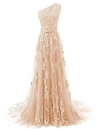 JAEDEN Ballkleider Abendkleider Lang Hochzeitskleider Damen Brautkleid Spitze mit Schleppe EIN Schulter Champagner EUR44
