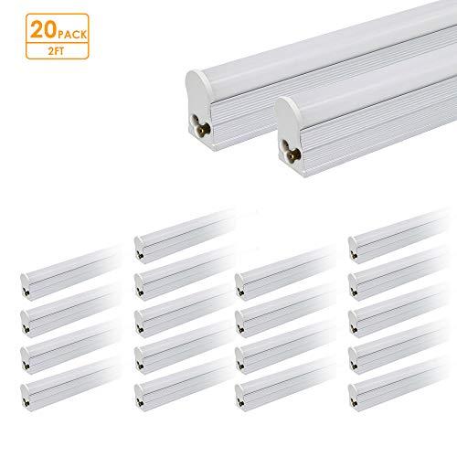Pack of 20 LED T5 Linkable Integrated Tube 2ft 1000lm 12W LED T5 Integrated Single Fixture 4100K Shop Light Ceiling Light Office Light School Light UL DLC NSF Certified