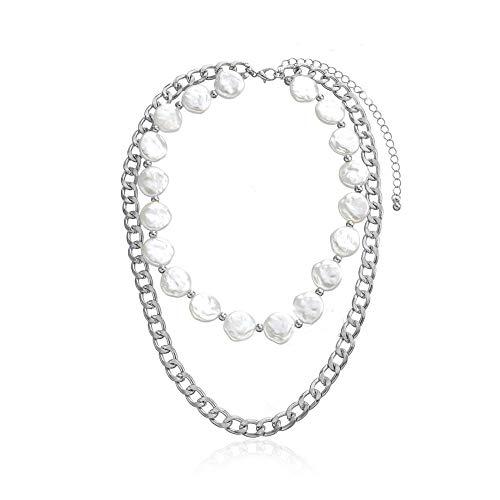 Collar de gargantilla de cadena de múltiples capas de metal vintage para mujeres joyas de collar de cadena de plata de oro-Plata