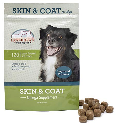 Skin and Coat Omega Supplement for Dogs, Bacon Flavored Treats, Protects Against Itchy and Dry Skin