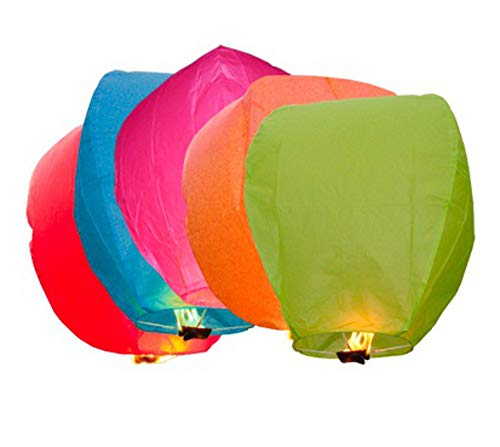 ECO Wirefree green e-shop2door Pack of 5 Chinese Sky Flying Lanterns floating Khoom Fay Kong Ming