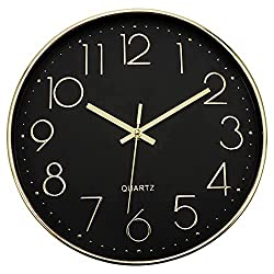Lumuasky Modern Wall Clock, Silent Non-Ticking Battery Operated Decorative Clock for Living Room Bedrooms Office Kitchen (Black Gold, 12 inch)