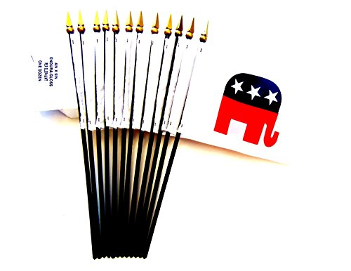 MADE IN USA!! Box of 12 Republican 4'x6' Miniature Desk & Table Flags; 12 American Made Small Mini Republican Party Elephant Flags in a Custom Made Cardboard Box Specifically Made for These Flags