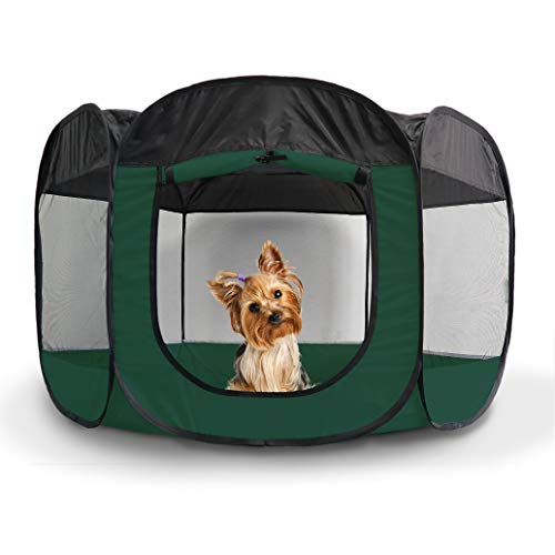 Furhaven Pet Playpen - Indoor-Outdoor Mesh Open-Air Playpen and Exercise Pen Tent House Playground for Dogs and Cats, Hunter Green, Small