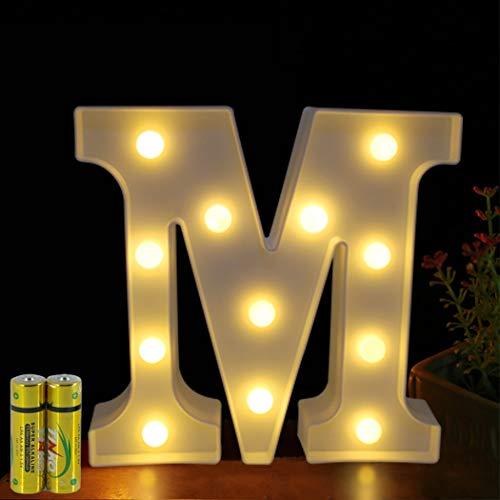 HONPHIER® - Letras luminosas con letra luminosa y letra de letra con pilas para recepciones, fiestas, bodas, casas, bares, decoración (M)