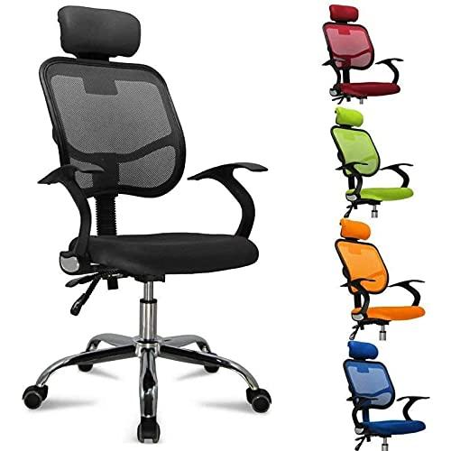 Sedia Ufficio, Sedia Ergonomica Girevole con Poggiatesta Regolabile, Supporto per Lordosi, Braccioli e Schienale, Fino a 130 kg