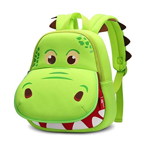 NOHOO Dinosaur Backpack Green Hippo Kids Toddler Child Cute Zoo Waterproof 3D Cartoon Sidesick Bag for Pre School Pre Kindergarten Toddler 2-7 Years