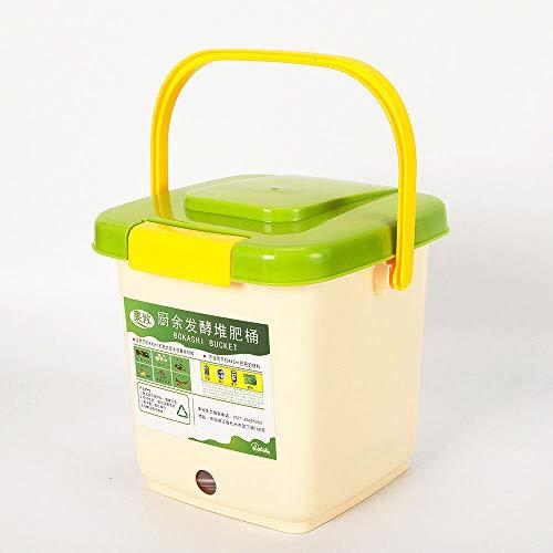 Bokashi Seau à compost bio 9 l Poubelle de cuisine et jardin Kit de démarrage Vert
