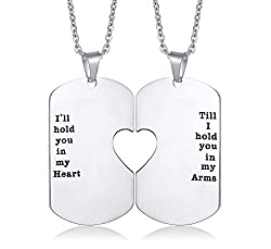 His and Hers Couple Necklace, Stainless Steel Matching Heart Dogtag Love Quote Engraved Stamped Pendant Necklace, Couples Necklace for Valentine Day Gift