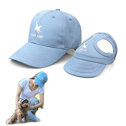 2er Set - 1x Hund Kappe Baseballmütze für Hunde Hut Mütze Hundehut Sonnenhut mit Ohrlöcher + 1x Unisex Baseballkappe für Herren Damen (M für Hunde + One Size für Mensch, Blau)