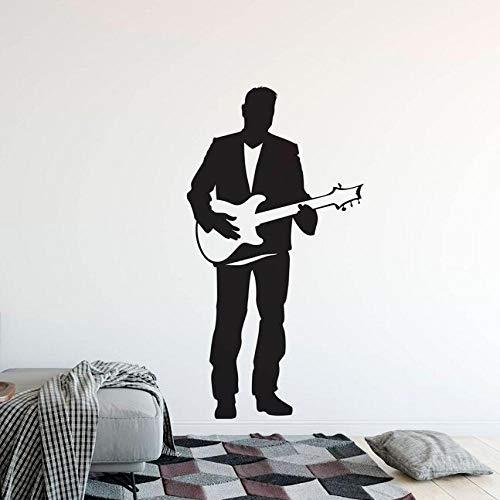Guitarra Eléctrica Etiqueta De La Pared Cantante Masculino Con Guitarra Vinilo Tatuajes...