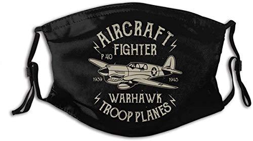 shuiguo Aircraft Fighter Warhawk Flugzeug Mundschutz, schützende 5-Lagen-Aktivkohlefilter Erwachsene Männer Frauen Bandana