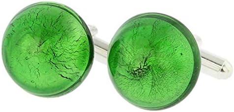 GlassOfVenice - Gemelos de Cristal de Murano, diseño Veneciano, Color Verde Esmeralda