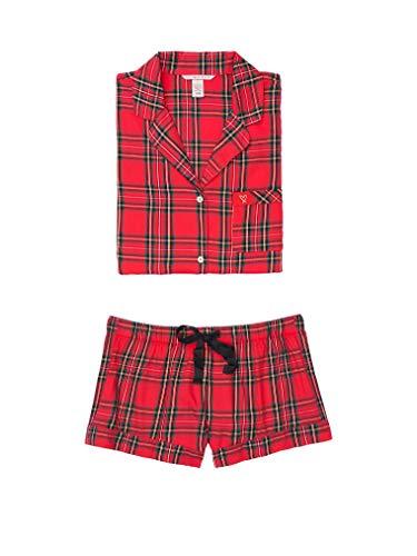 Victoria's Secret Damen Flanell Boxer PJ Leichte Pyjama-Shorts Set Rot Kariert Groß
