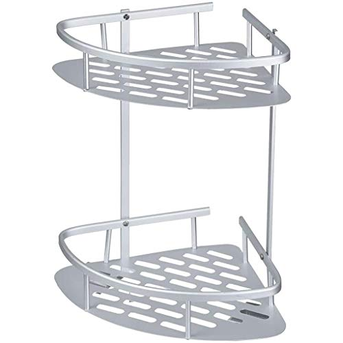 2 Tiers Badkamer Keuken Double Hoekplank Shower Houders Wall Mounted Aluminium Save Space Opknoping Storage Rack Basket Organizer For WC, Shampoo, Dorm, No Boring