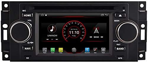 Laytte Coche GPS DVD Player Cabeza Estéreo para Chrysler 300C Jeep Commander Dodge Wheel Wheel Control Radio Navi Radio Multimedia WiFi Incorporado Carplay con Cable,4core 4g WiFi:2+32gb