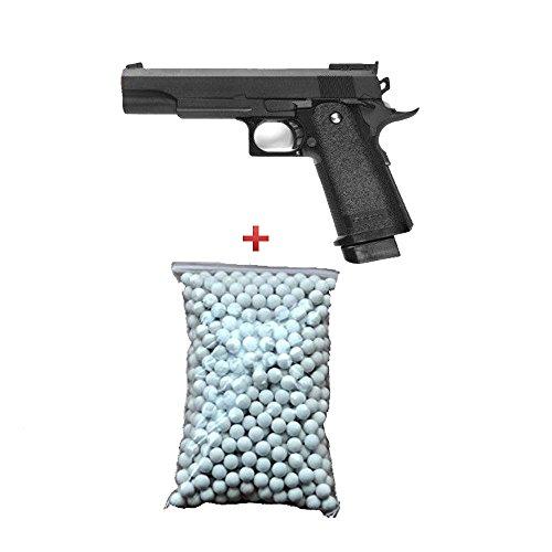Airsoft Galaxy - pistola para airsoft G6 tipo M1911, Hi Capa, con muelle, color negro, botella de balines de 0,12 g de regalo, fuerzas especiales, SWAT o cosplay, potencia de 0,5 julios