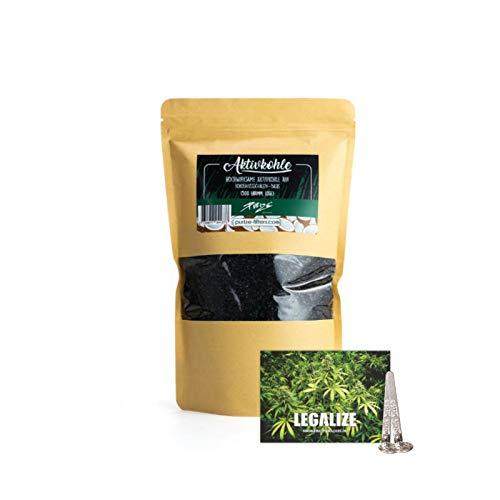 PURIZE 500g Coconut - lose Aktivkohle auf Kokosnuss Basis zum Befüllen von Aktivkohleadaptern für Bong Shisha Wasserpfeife inkl. 2X Notfall Einhängesiebe