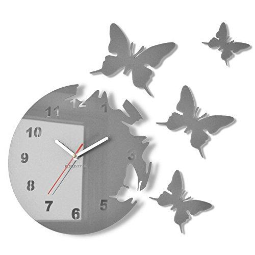 FLEXISTYLE Große Moderne Wanduhr Schmetterling Grau rund 30cm, 3D DIY, Wohnzimmer, Schlafzimmer, Kinderzimmer