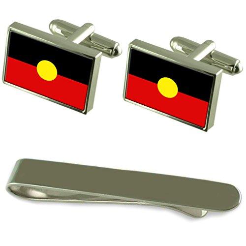 Flagge Aborigines Silber Manschettenknöpfe Krawatten Clip Box Set