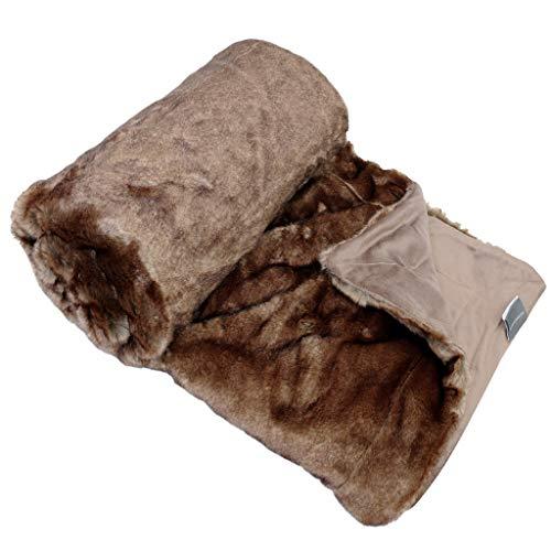 Schiesser Fake Fur Decke Fellimitat mit Wendeoptik / 80% Polyacryl 20% Polyester / 150 x 200 cm/in Verschiedene Farben & Muster erhältlich, Farbe:Fell Taupe, Größe:150 cm x 200 cm