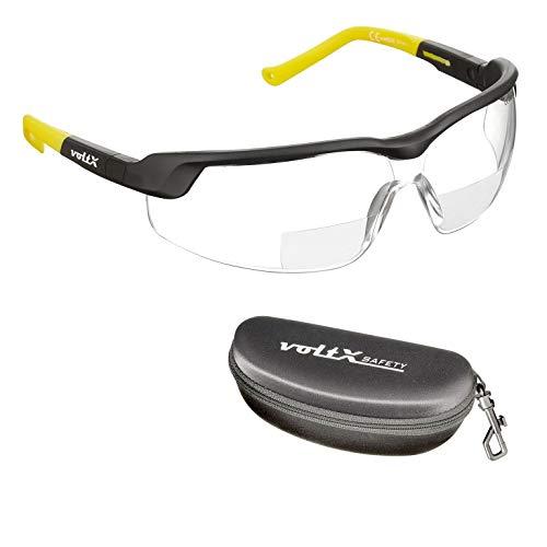 voltX GT Adjustable (2020 Model) Bifokale Lesen Schutzbrille (KLAR +1.5 Dioptrie), CE EN166FT Zertifiziert, Anti-Beschlag Beschichtung, anpassbarer Bügel, Kratzfest, UV400 Schutz + Sicherheitsetui
