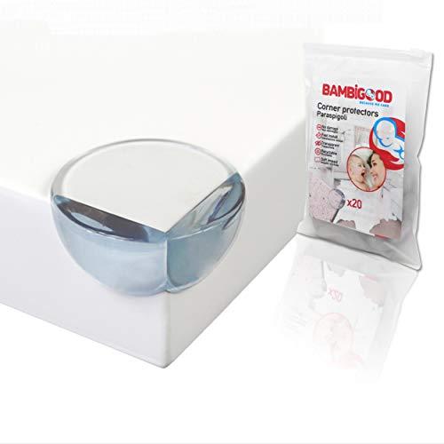 BAMBIGOOD® 20 Paraspigoli Bambini Trasparente Morbido con adesivo preinstallato per Sicurezza Bambini – Protezione Spigoli per Bambini Sicurezza Casa, Para Angoli per Bambini, Copri Spigoli