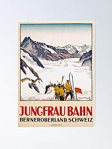 GAVIMAX Jungfraubahn - Vintage Swiss Travel Poster No Frame Board for Office Decor, Best Gift Family and Your Friends 11.716.5 Inch