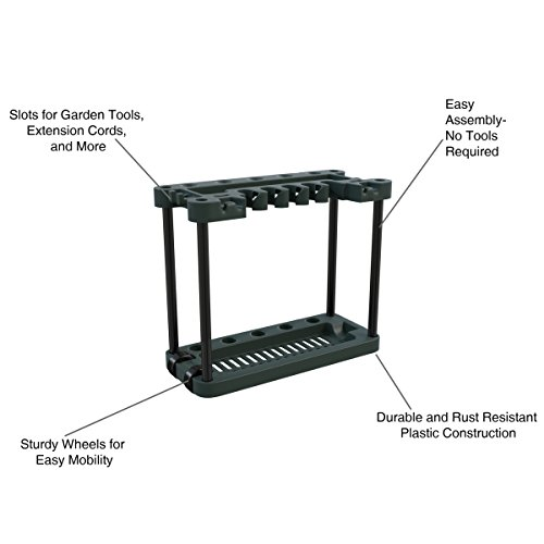 Stalwart Garden Tool Organizer – Portable Rolling Utility Rack with Wheels Holds 40 Yard Tools – Garage Organizers and Storage Home Essentials
