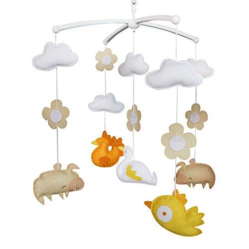 Jouets éducatifs Décor de chambre d'enfant Design cousu à la main décoration de lit de bébé cadeau mobile pour nouveau-né Mobile musical pour 0-1 ans (volaille)