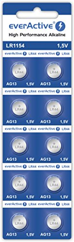 everActive AG13 1.5V, 10x Batterien, Alkaline, Mini, G13 LR1154 LR44, 4 Jahre Haltbarkeit, 10 Stück – 1 Blisterkarte