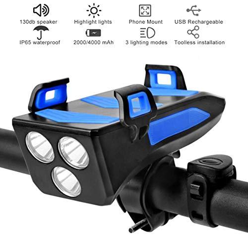 Luz De Bicicleta USB Recargable Luces Delanteras Para Bicicleta Impermeables Con Bocina Y Soporte Para Teléfono Y Banco De Energía, 3 Modos De Iluminación Faro Para Bicicleta De 400 Lúmenes