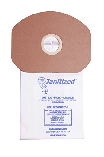 Janitized JAN-KAPV6-2(10) Premium Replacement Vacuum Paper Bag, Sanitaire SC412, KarcherTornado PV6, Cleanmax CMBP-6, Tennant V-BP-6, Power-Flite PF300/600BP, OEM#CMBP-10, C352-2500 (Pack of 10)