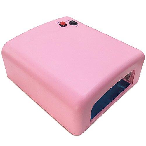 Crisnails® Lámpara UV 36W, Secador de Uñas para Manicura y Pedicura Permanente o Semipermanente, Timer 120s, Color Rosa