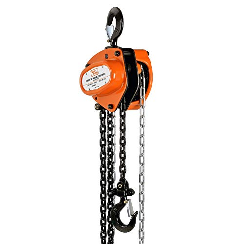 SuperHandy Manual Chain Block Hoist Come Along 1 Ton 2200Lbs Capacity 10 Foot Lift 2 Heavy Duty Hooks Industrial Grade Steel Construction Building Garages Warehouse Automotive Machinery