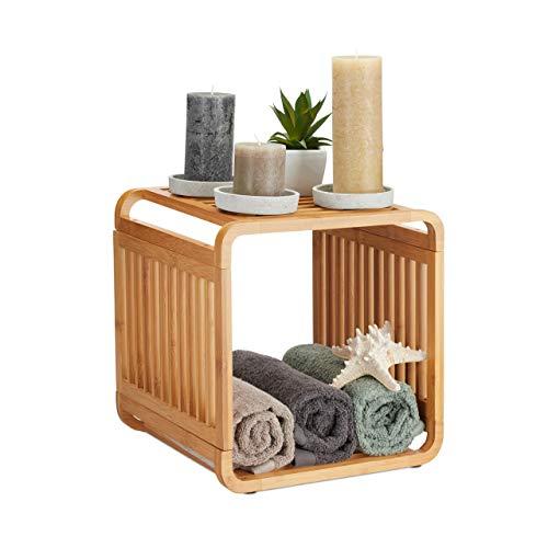 Relaxdays, Natur Regal, abgerundetes Standregal, schmales Badregal mit 2 Ablagen, quadratisch, HBT: 33x33x33 cm