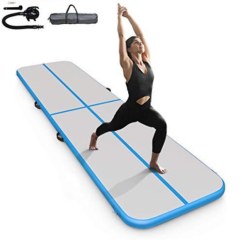 DREAMADE Gymnastikmatte Turnmatte Aufblasbar, Tumbling Matte mit Luft Pumpe, Trainingsmatte Weichbodenmatte Yogamatte Fitnessmatte für innen und Outdoor (Blau)