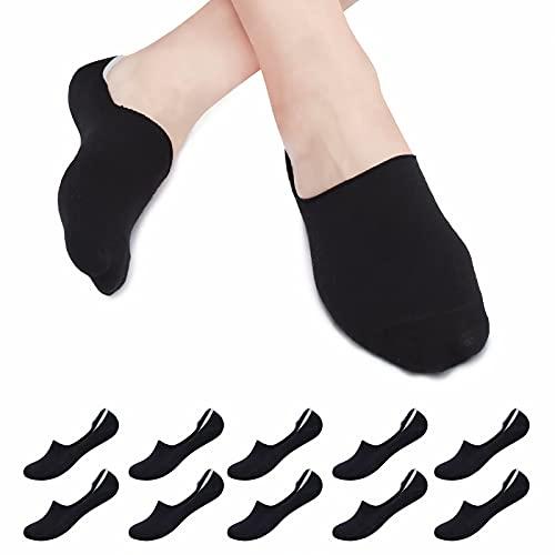 Falechay Calcetines tobillero Mujer Hombre Invisibles Calcetines Cortos Algodón Transpirables Silicona Antideslizante 10 pares Negro 43-46