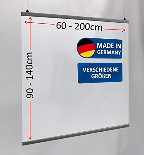 MyMaxxi   Deckenhänger Spuckschutz Folie 60x90cm mit Alu-Klemmschiene   Schutz Wand hängend   Spritzschutz   Abtrennwand   Ladentheke   Spuckschutz Deckenhänger