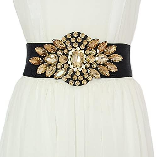 Sethain Vintage Cristal Amplio Cinturón Oro Elegante Vestido Cinturón de cincha Abrigo Obi Diamante de imitación Pretina para mujeres y niñas (oro)